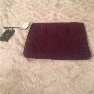 NWT Wine color, Fall like cable knit clutch bag
