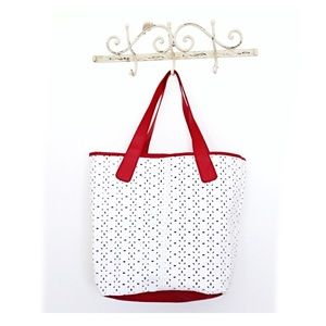 Saks Fifth Avenue Large Tote. Red White Flower Bag