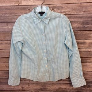 346 Brooks Brothers Aqua blue checked size 6