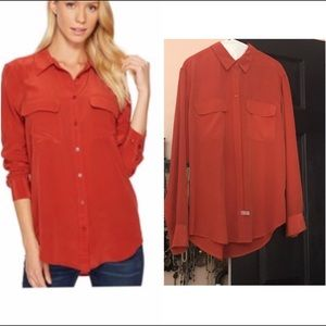 Equipment femme double from pocket blouse M in red