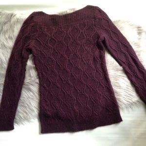 LOFT purple eggplant cable knit sweater tunic M