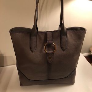 Frye Leather Ring Tote Gray retail $448 NWT
