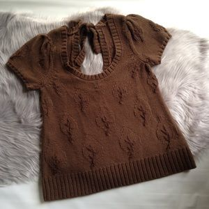 Moth brown short sleeve sweater tie back leaf XS