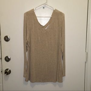 Maurice's Tan V Neck Long sleeve basic top size 1
