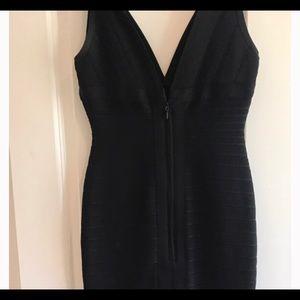Herve Leger V Neck Bandage Black Mini Dress
