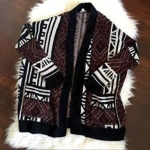Ecote Knit Multi-color Print Cardigan Sweater