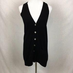 Vince black cashmere v-neck button down vest