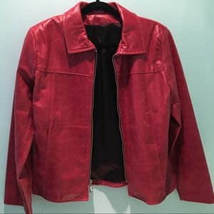 Jackets & Blazers - 🆕👑Womens Red Zip Up Leather Jacket S NWOT