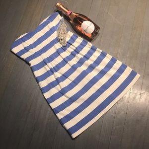 J Crew Strapless Blue White Striped Cotton Dress