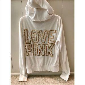 White sequin Victoria's Secret zip hoodie