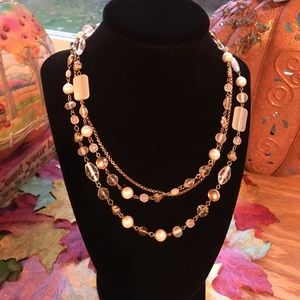 Lia Sophia gold and pearl layered necklace