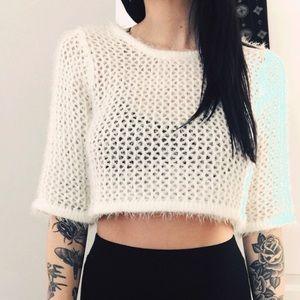 UNIF cropped fuzzy white sweater
