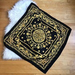 Black & Gold Silk Scarf Baroque Chain Pattern