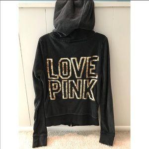 Gray sequin VS Zip hoodie