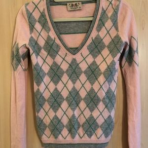 Juicy Couture pink & gray argyle sweater