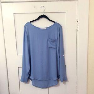 Ann Taylor LOFT Blue Long Sleeve Tunic Top