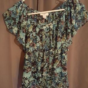 Anne Taylor LOFT sheer floral top