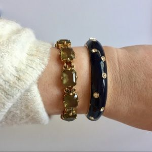 J. Crew • Navy Rhinestone Hinge Bangle
