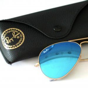 Ray Ban Polarized Blue Mirror Aviators Sunglasses