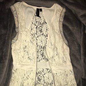 Lace Embellished Zip-Up Vest.