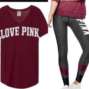 VS Pink Campus Leggings & V Neck Tee Set