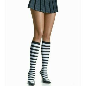 Black & White Striped Knee-High Stockings, NWT