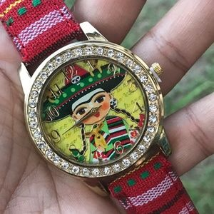 Frida Kahlo Watch Mexican Red Serape & Chihuahua