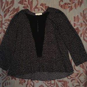 Sandro patterned blouse with peplum