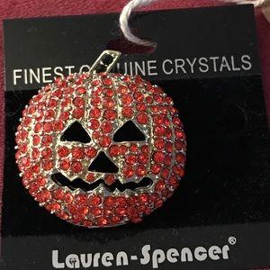 Jewelry - Crystal jack o lantern brooch