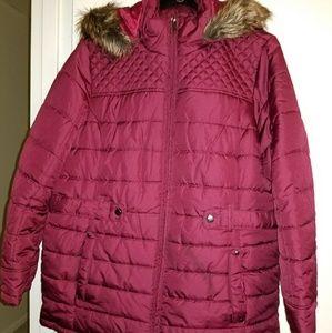 Burgundy puffer coat size 1x