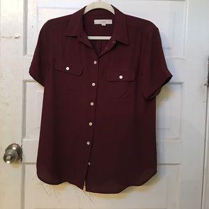 Loft burgundy button down blouse