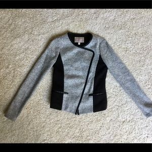 Gray Wool & Faux Leather Trim Moto Jacket