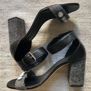 J.Crew Collection Wool + Jewel Block Heel Sandals