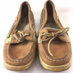 Womens Boat Shoes Sperry 7.5M Brown Leather Laces
