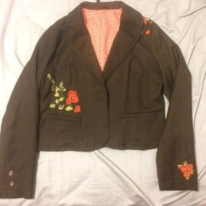 Brown Embroidered Blazer for Fall