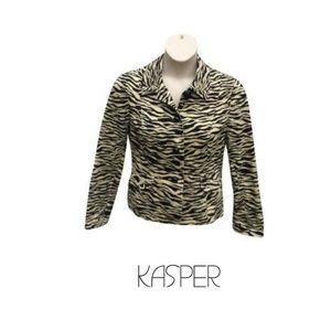 Kasper 12 Blazer Abstract Print Black Beige