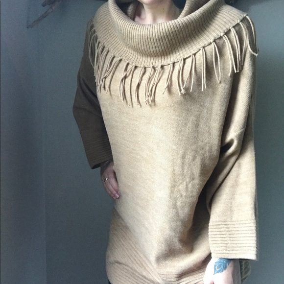 85% off Chico's Sweaters - Chico's Fringe Tan Tunic Sweater from ...