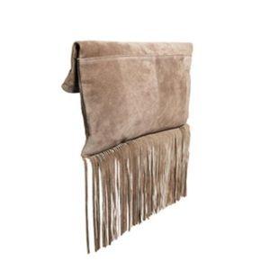ASOS Foldover Suede Fringe Clutch Bag