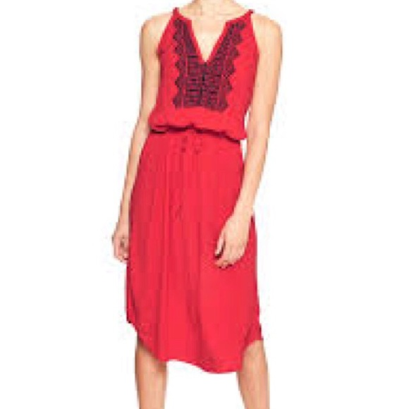 Off gap dresses skirts red summer embroidered