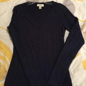Loft XS deep blue cable knit vneck sweater