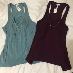 VS PINK LACE UP TANKS