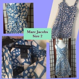Marc by Marc Jacobs blue and light gray silk dress