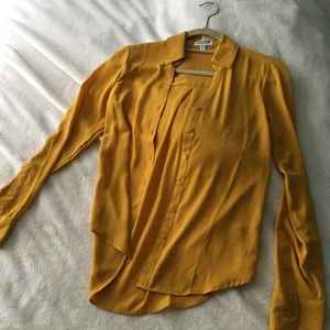 Express Yellow Portofino Button Up Slim Fit Blouse