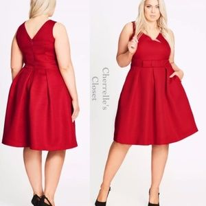 City Chic Nordstrom Bow Fit & Flare Textured Dress