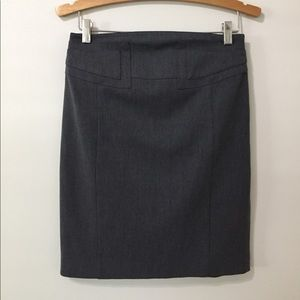 CHARCOAL GRAY HIGH WAISTED STRETCH PENCIL SKIRT 2