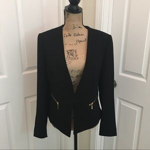 Tahari Black Blazer with Gold Zippers