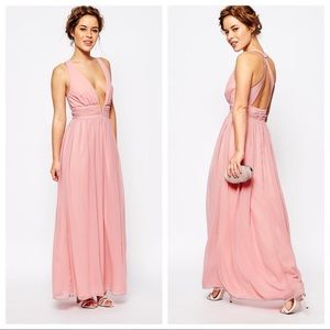 ASOS TrueDecadence pink Plunge Front gown dress 18