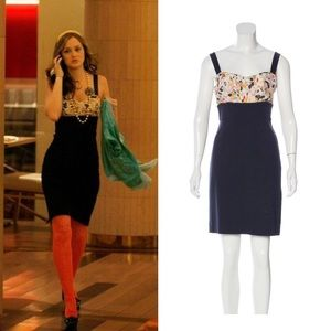DVF Sophia Loren Navy Floral Dress 6 Blair Waldorf