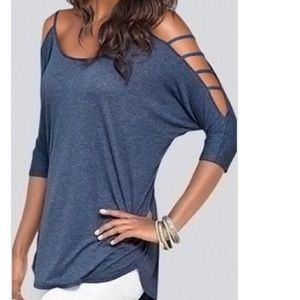 Tops - Heathered blue cut out top