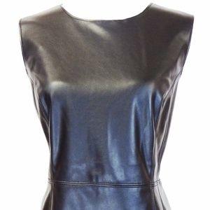 INC Black Faux Leather Dress